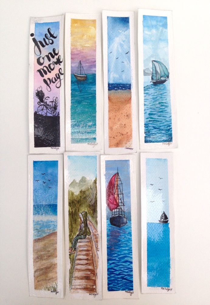 Details About Hand Painted Watercolour Bookmarks Watercolor