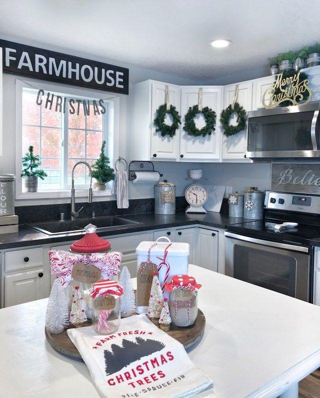 farmhouse christmas kitchen rae dunn hot cocoa bar centerpiece in modern white farmhous diy on farmhouse kitchen xmas id=97503