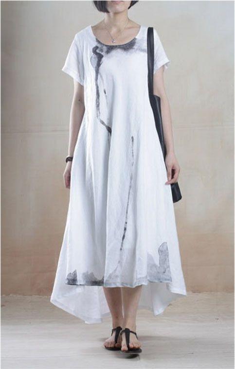 590983db0134 Linen Dress with Batik Print in White Linne Klänningar, Klänningar Stora  Storlekar, Sommarklänningar,