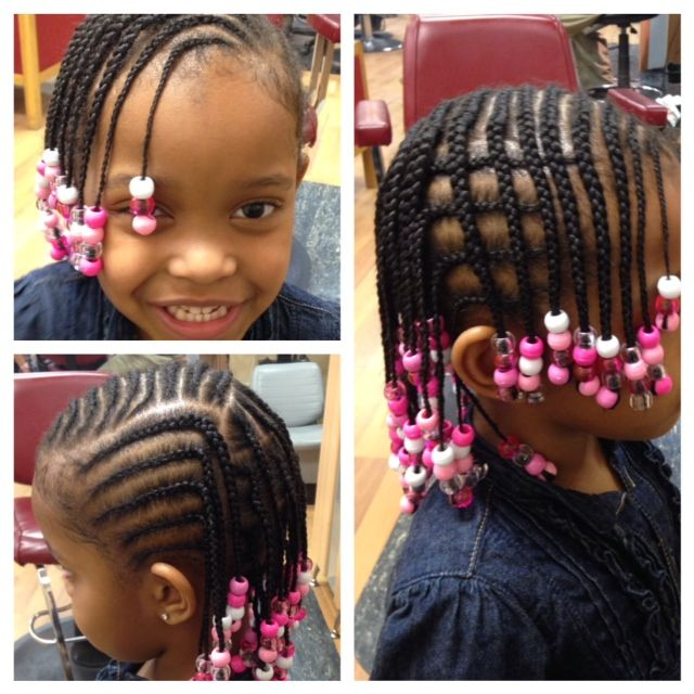 French Braids With Beads Little Girl Braids Kids Braids With Beads
