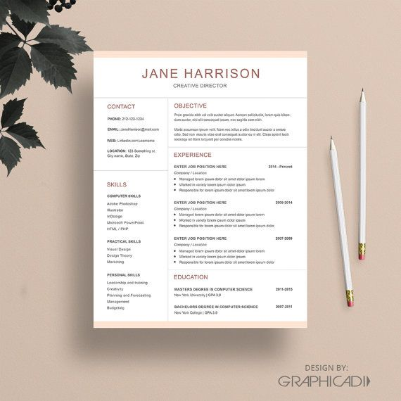 Resume Template with Matching Cover Letter for Word Etsy Sellers