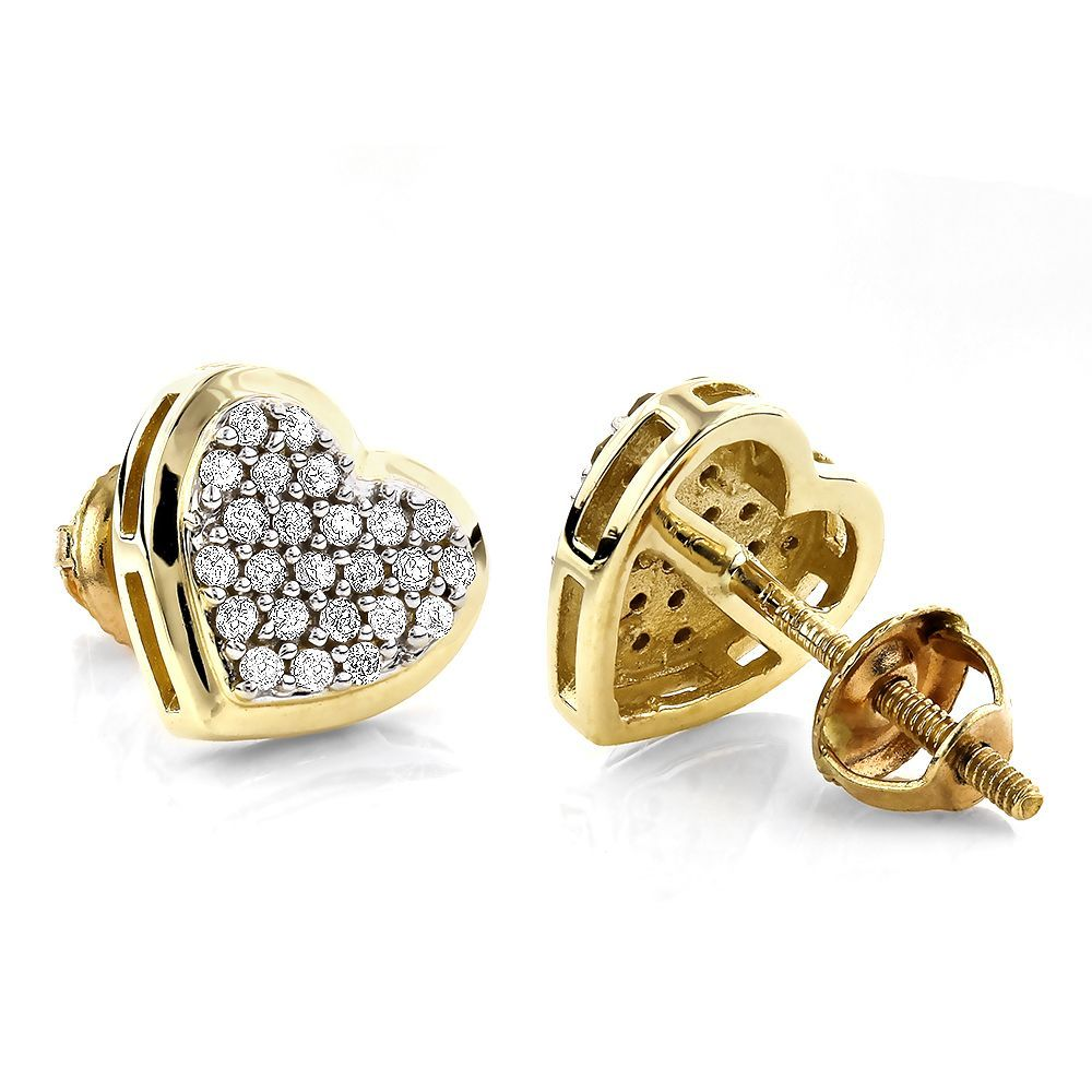d65fbd779ce7b1 Luxurman 14k Gold 1/3ct TDW Heart Diamond Stud Earrings (H-I, SI1-SI2)  (Yellow)