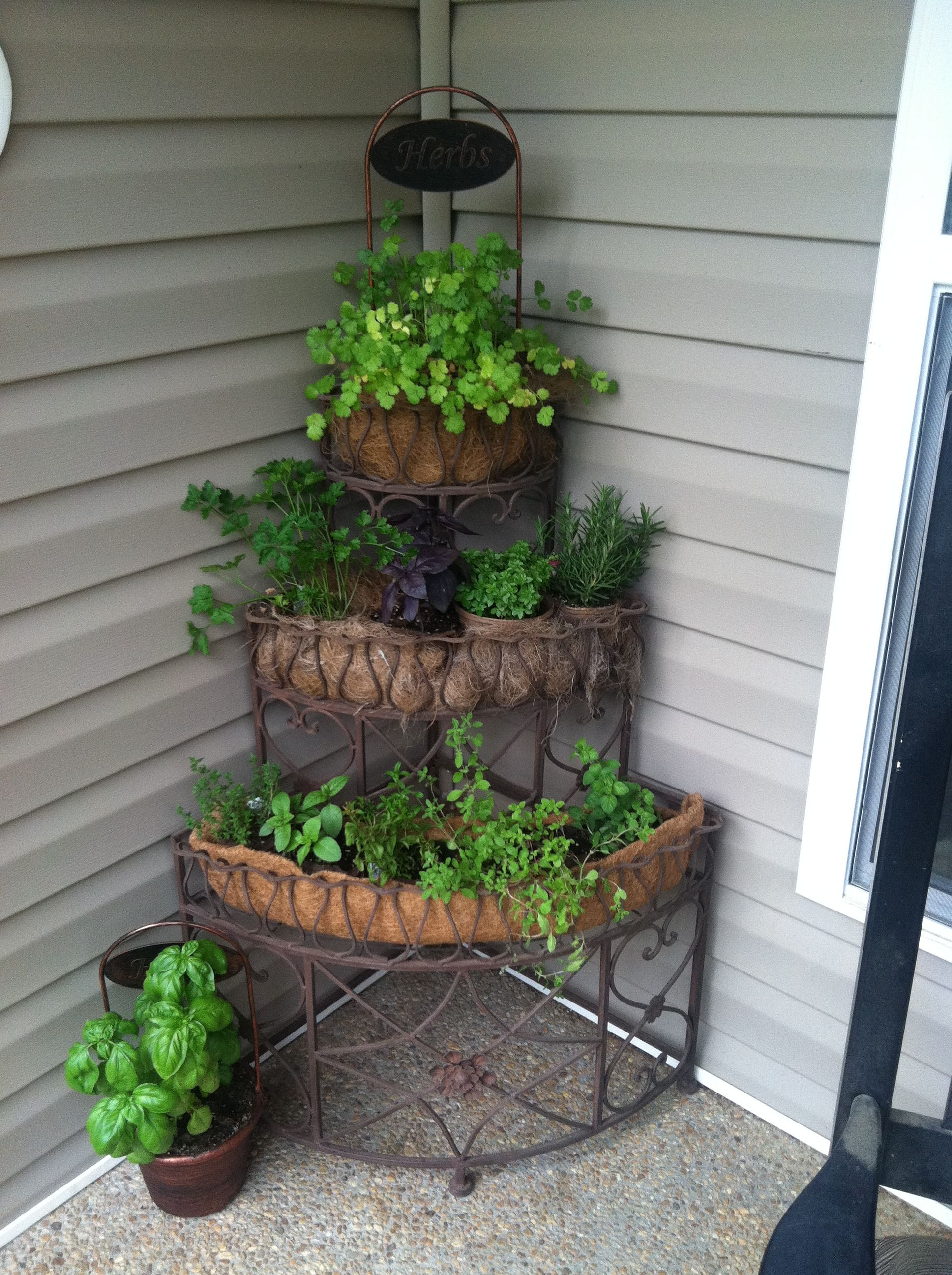 Portable herb garden to place beside the grill or kitchen