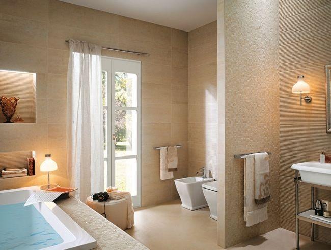 Fesselnd Badgestaltungsideen Fliesen Beige Verschiedene Texturen Fap Ceramiche