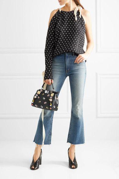 1e711ad80c Fendi - Peekaboo Mini Appliquéd Embroidered Leather Shoulder Bag - Black