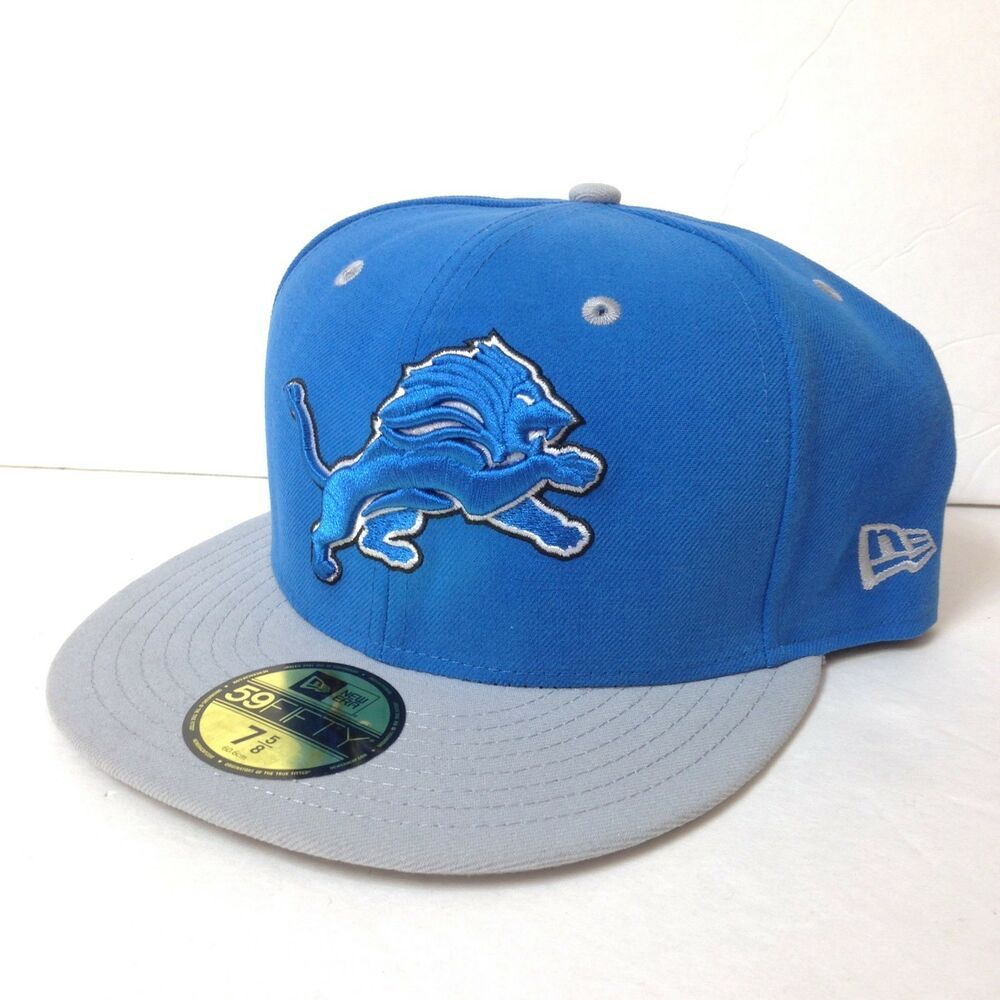 Fitted 758 new era 59fifty detroit lions hat bluegray
