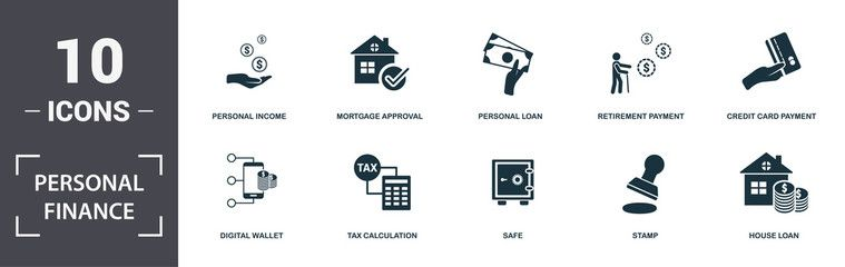 Personal Finance Icons Set Collection Includes Simple Elements Such As Personal Income Mortgage Approv Credit Card Icon Platinum Credit Card Personal Finance