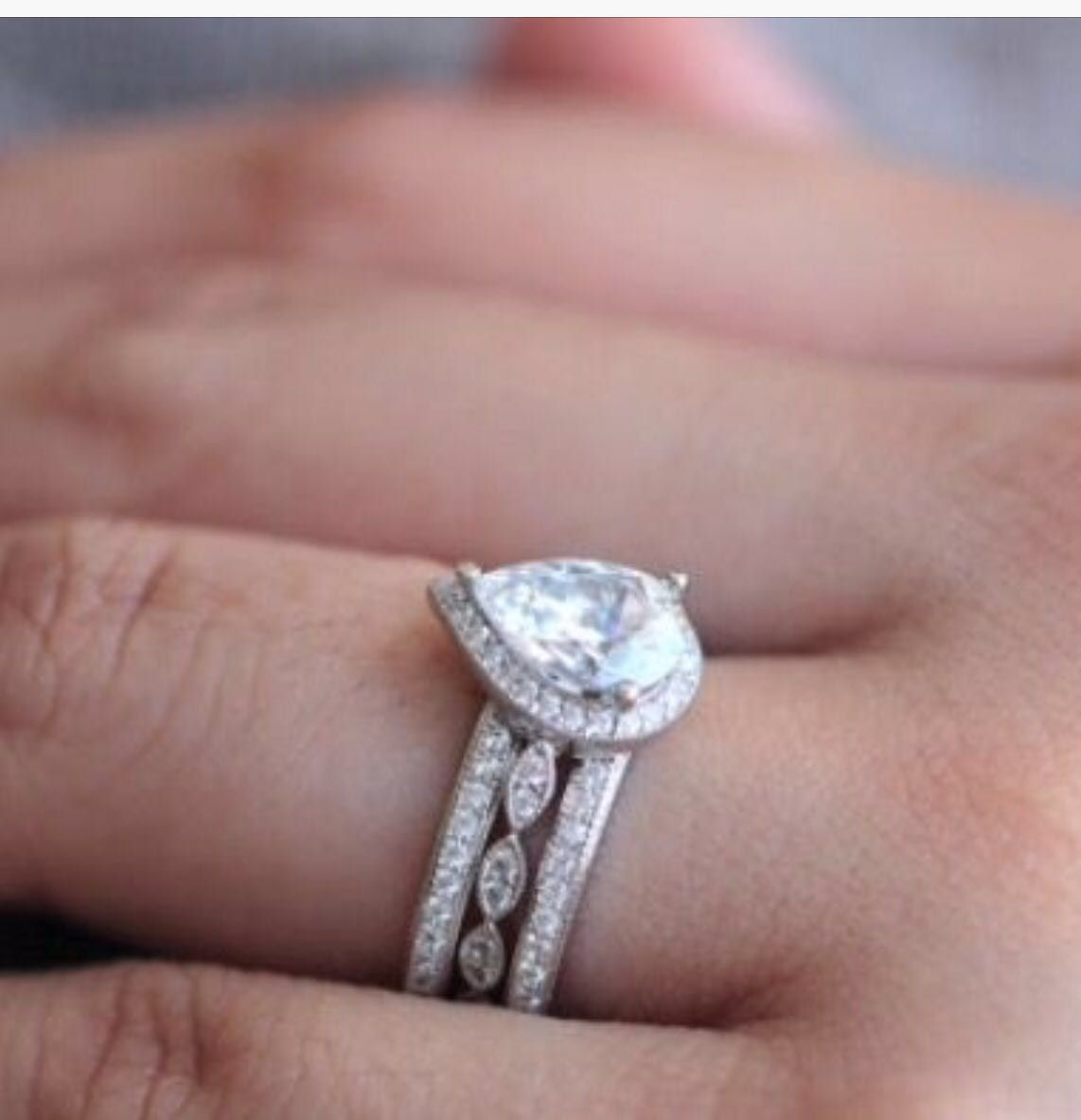 Pear Shape Halo Engagement Ring Wedding Set in 2018 | anniversary ...