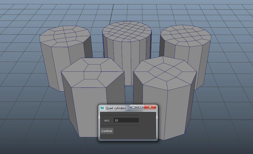 Quad Cap Cylinders for Maya | Modeling -- General | Maya, Script