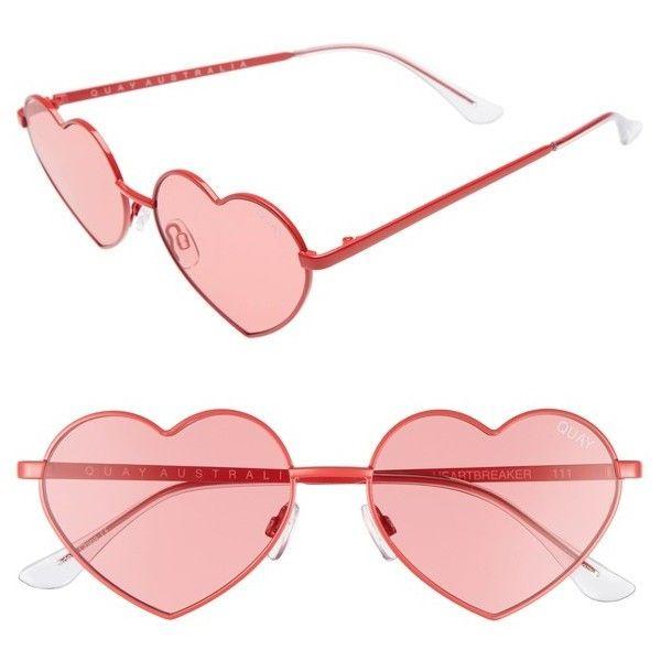 fabd818290c Women s Quay Australia 53Mm Heart Breaker Heart-Shaped Sunglasses (195 MYR)  ❤ liked on Polyvore featuring accessories