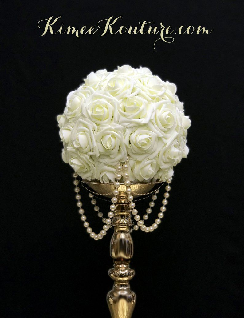 Ivory Flower Ball With Draping Pearls Ivory Wedding Centerpiece Ivory Wedding Decor Bridal Shower Baby Shower Quinceanera Pick Color Ivory Wedding Decor Wedding Centerpieces Wedding Cakes Vintage