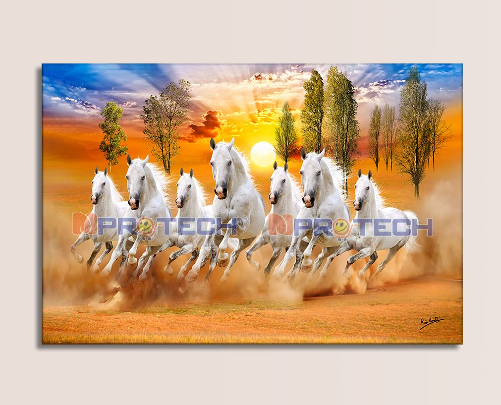 24 X 48 Inches Beautiful 7 Running Horses With Vastu Sunrise Wall Sticker Poster Big Without Frame