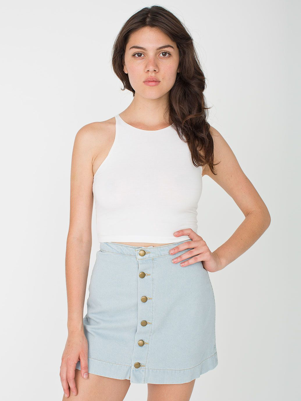 Denim Button Front A-Line Mini Skirt | Indigo, Denim skirts and ...