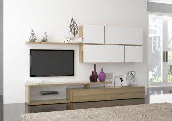 TV murale design blanc laqué/chêne clair Cubik
