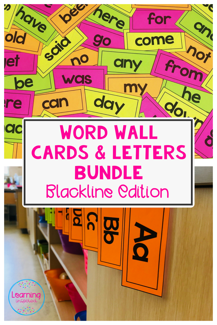 Word Wall Cards and Letters Bundle Blackline Edition **Editable ...