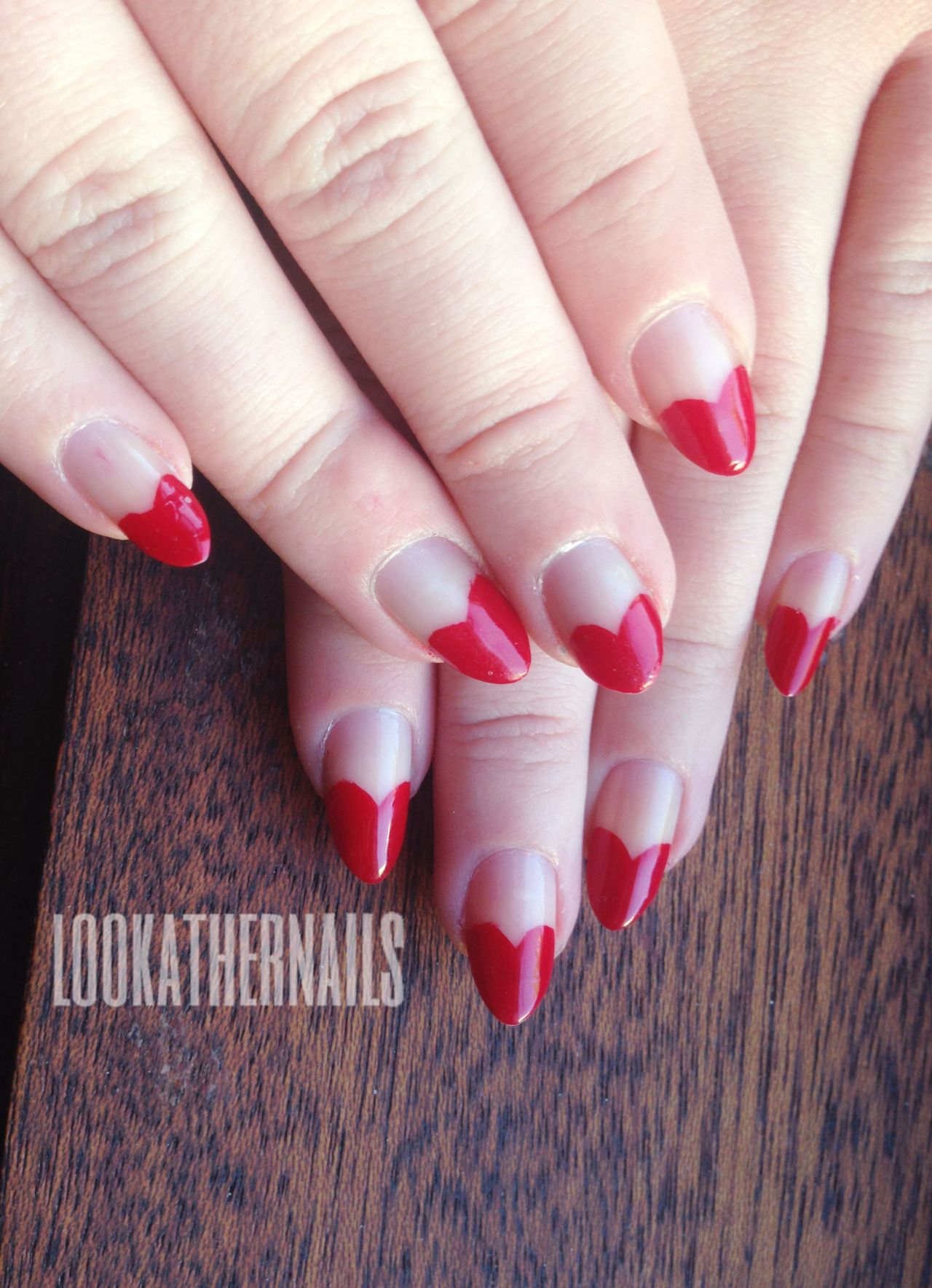 """lookathernails: """" Stiletto heart tip nails for Valentine\'s Day! I\'ve ..."""