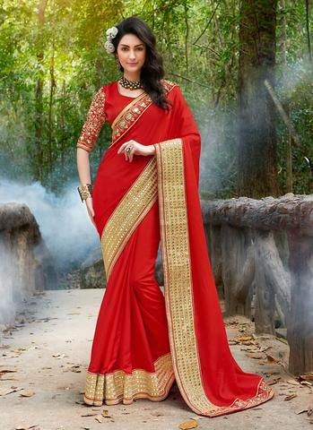 Red Raw Silk Mirror Work Border Indian Sarees Dresses