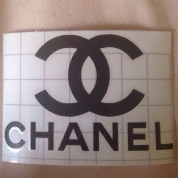 Chanel Sticker Decal ALSO AVAILABLE IN WHITE, GOLD & SILVER HANDMADE Can be put to almost all flat and smooth surface (Mugs, Laptop, acrylic Tumblers, and the likes) Semi permanent (STICK LIFE OF 3-5 years)  Made with Oracal 651 Vinyl Approximately 2.5x3.5 inches  -CLEAN SURFACE BEFORE PLACING STICKER -PRESS HARD ON ALL AREAS BEFORE REMOVING TRANSFER TAPE -REMOVE TRANSFER TAPE CAREFULLY -ENJOY :) Other