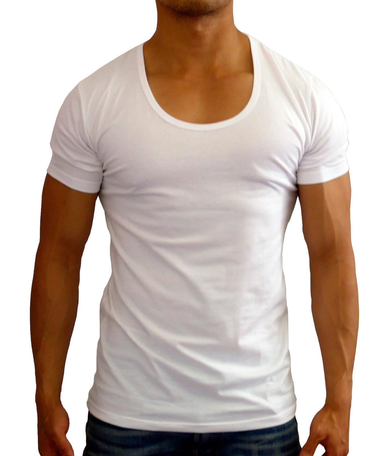 f8951b43e61f $17.99 AUD - Mens Plain White Deep Scoop Neck T-Shirt Muscle Slim Fit  Casual Gym Fashion #ebay #Fashion