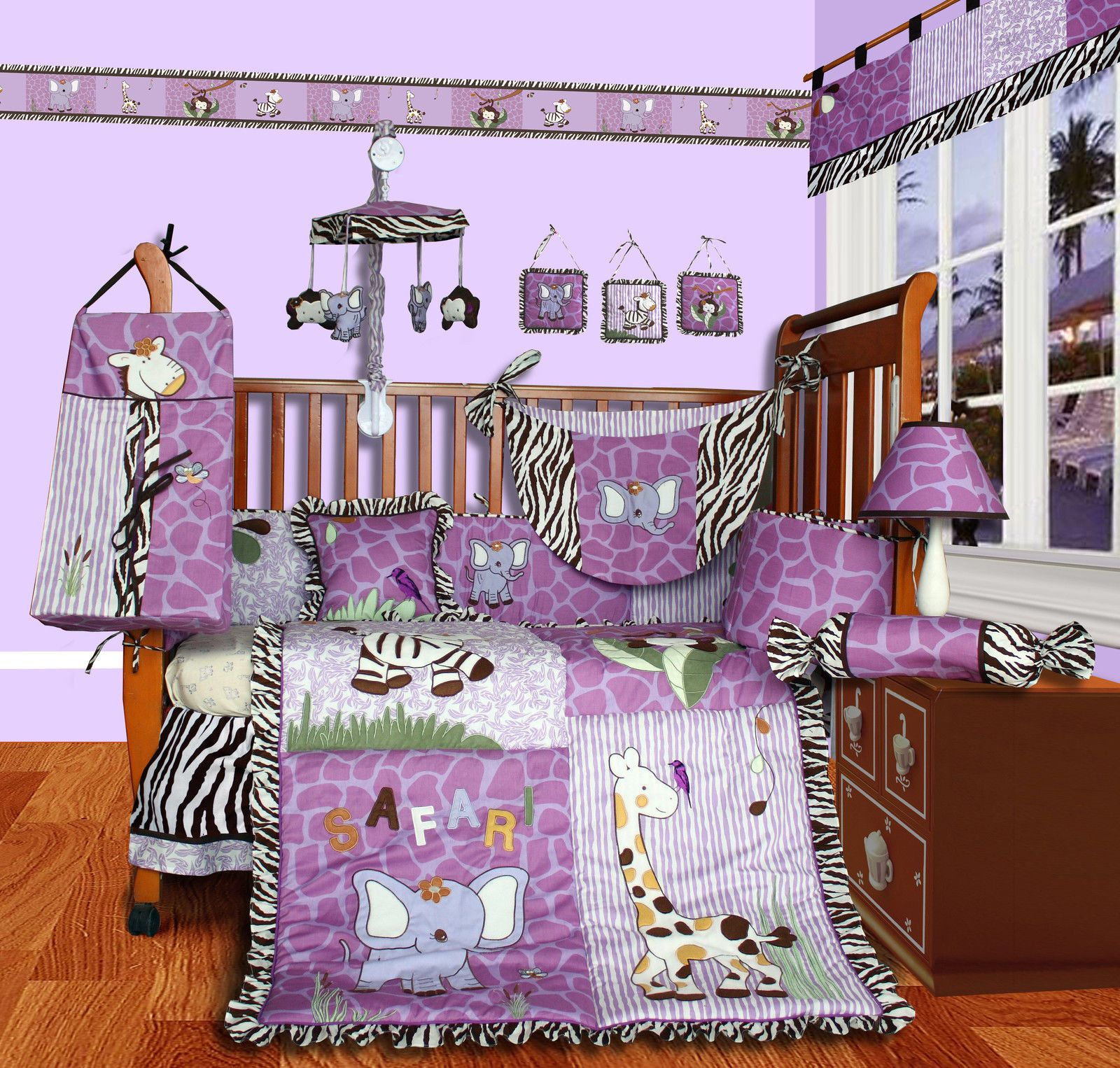 beautiful bed larger l furniture sets girl home girls purple with nursery set baby crib decor bedding bedroom cribs ideas view for