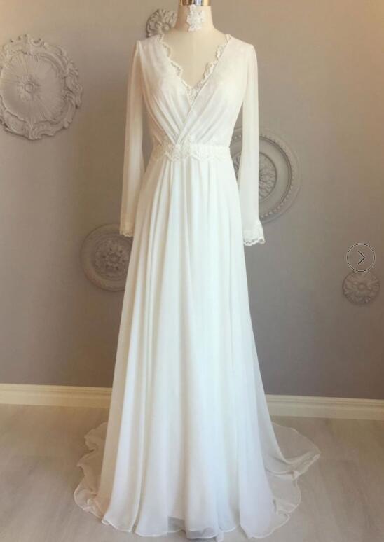 Beach Wedding Dress White Chiffon Evening Dress Long Sleeve