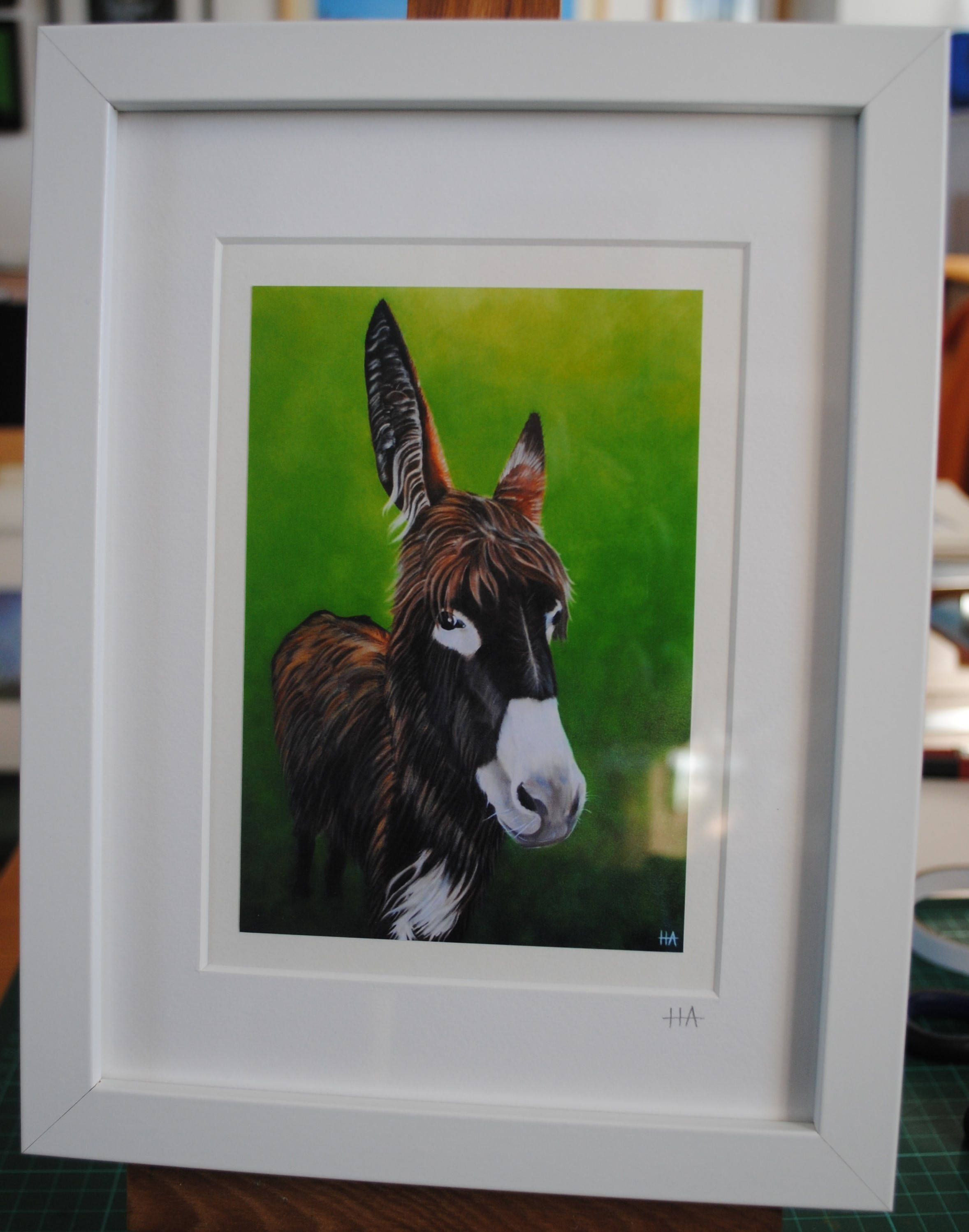 Framed Print of Donkey Painting - Oil Painting in White Box Frame ...
