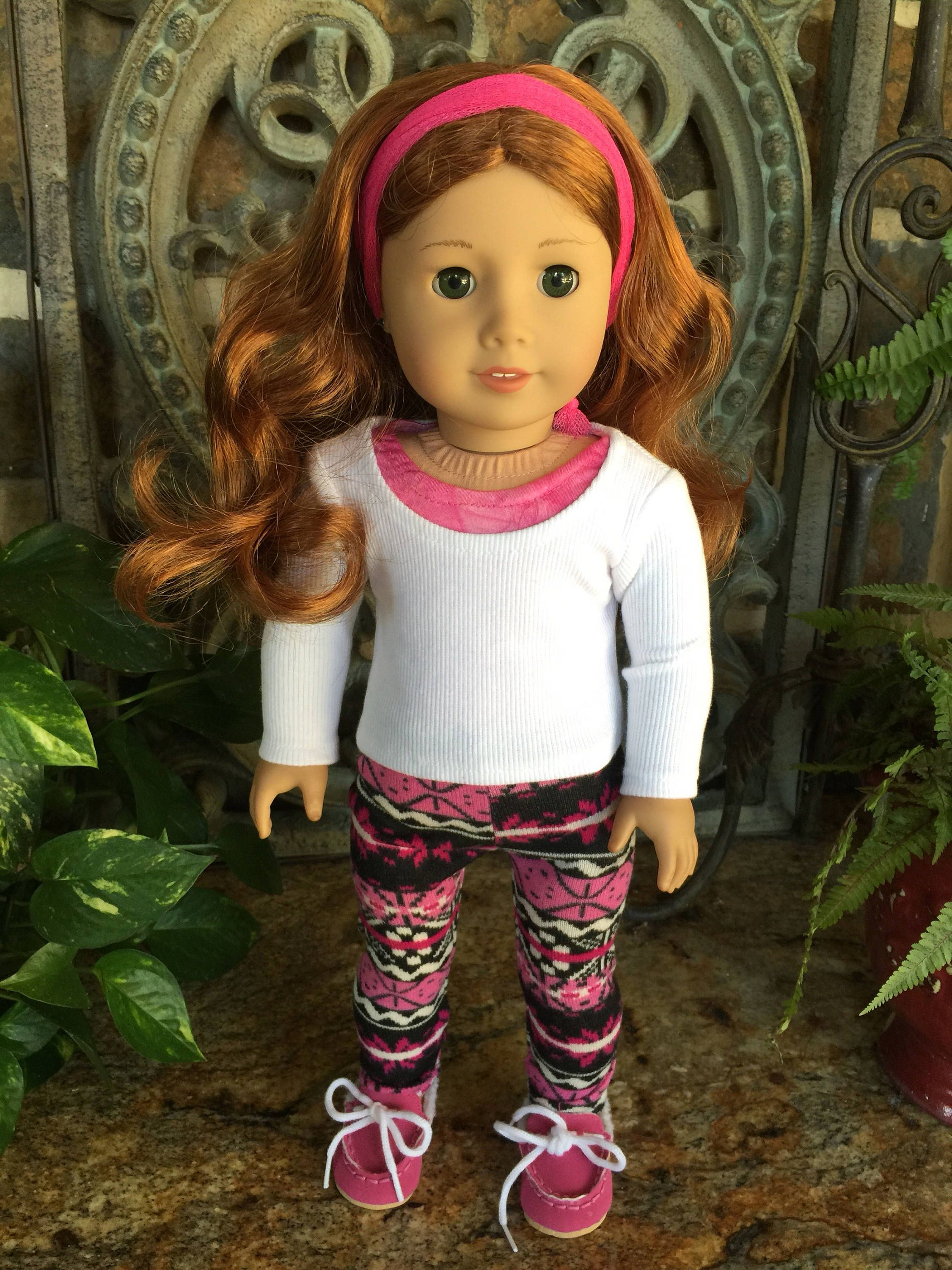 2b9da06c9d4ad 18 inch handmade doll clothes designed to fit the American girl doll- white  top-leggings-shoes by lollipaisley on Etsy
