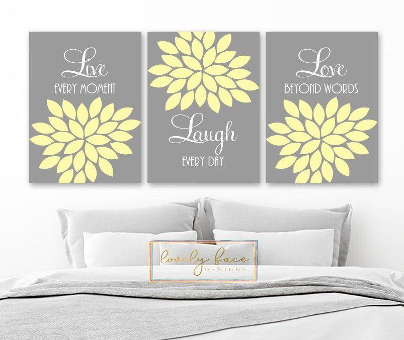 Live Laugh Love Wall Art Yellow Gray Bedroom Wall Decor Etsy In 2020 Wall Decor Bedroom Yellow Grey Bedroom Walls Love Wall Art