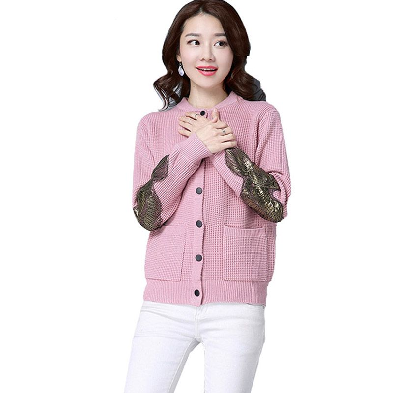 dc8ea0b76e 3 Colors Autumn Women Knitwear O-neck Single Breasted Short Cardigan Female  Elegant Loose Appliques