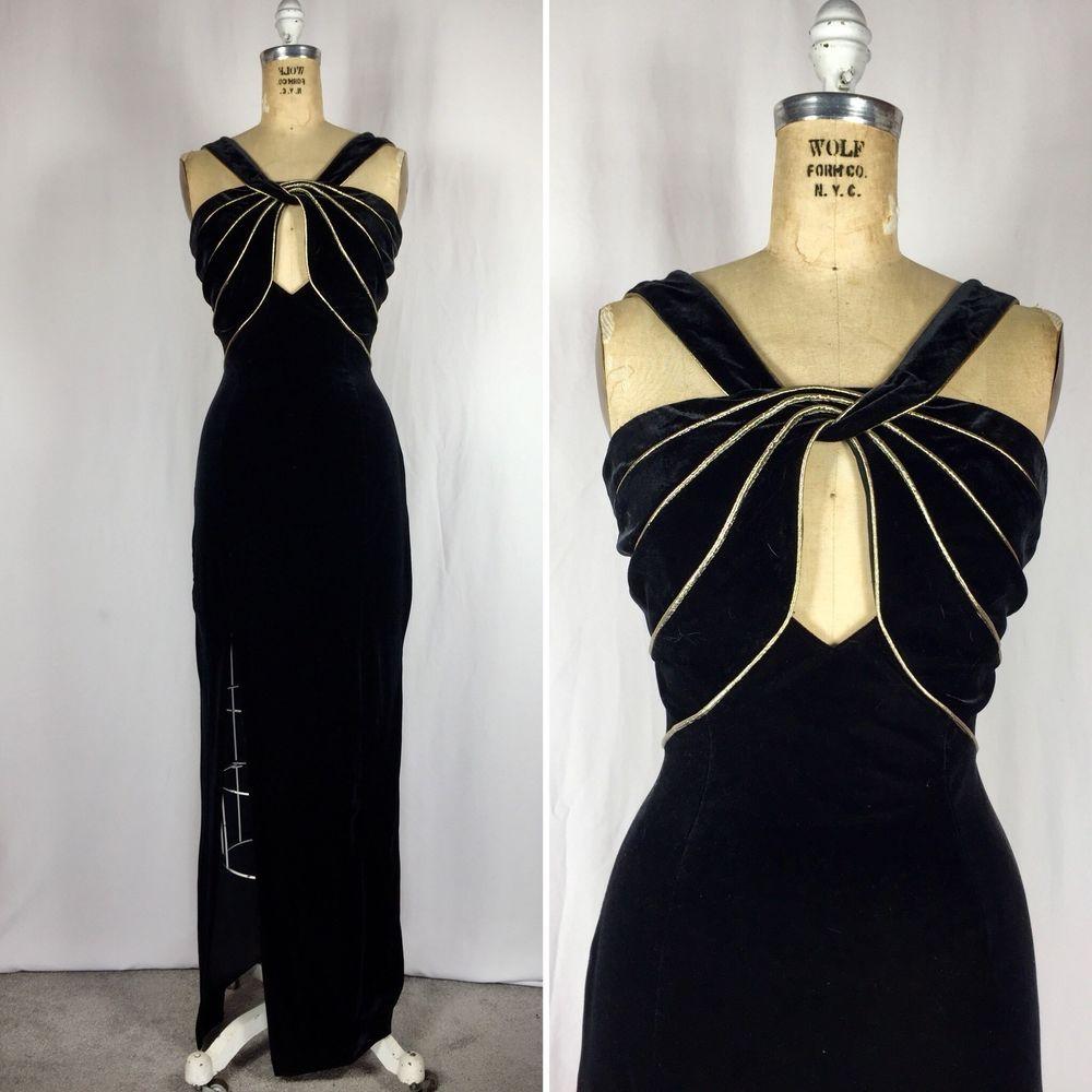 Vintage womens size grecian gold twist keyhole black velvet
