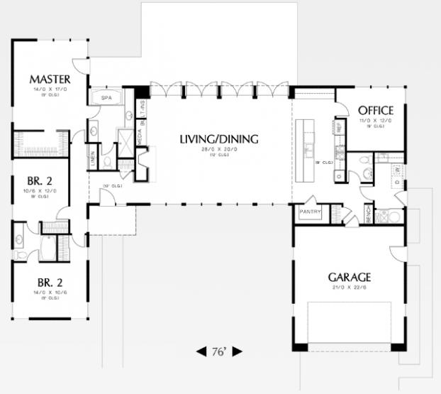 Plano Y Diseno De Casa Moderna Muy Comoda Con 3 Dormitorios Planos De Casas Contemporary House Plans L Shaped House Plans Modern Style House Plans