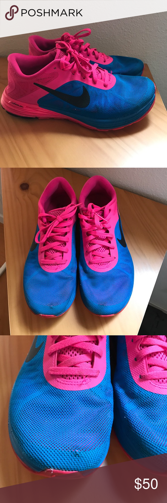 Nike LunarLaunch sneakers 👟 women's 7 Nike LunarLaunch shoes bright blue and pink. These have visible wear but they're definitely not worn out they still have lots of life left! The rubber on the souls is still very thick and intact it's mostly just some dirt spots. See pix!! Ask me questions?? Bundle! Make an offer! Nike Shoes Athletic Shoes