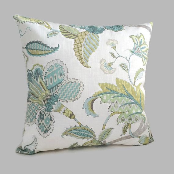 Jacobean Floral French Country Throw Pillow Blue Green