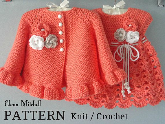 Photo of Knitting PATTERN Baby Jacket Crochet PATTERN Baby Dress Baby Cardigan Baby Girl Pattern Baby Outfit Newborn Baby Girl Clothes Pattern PDF