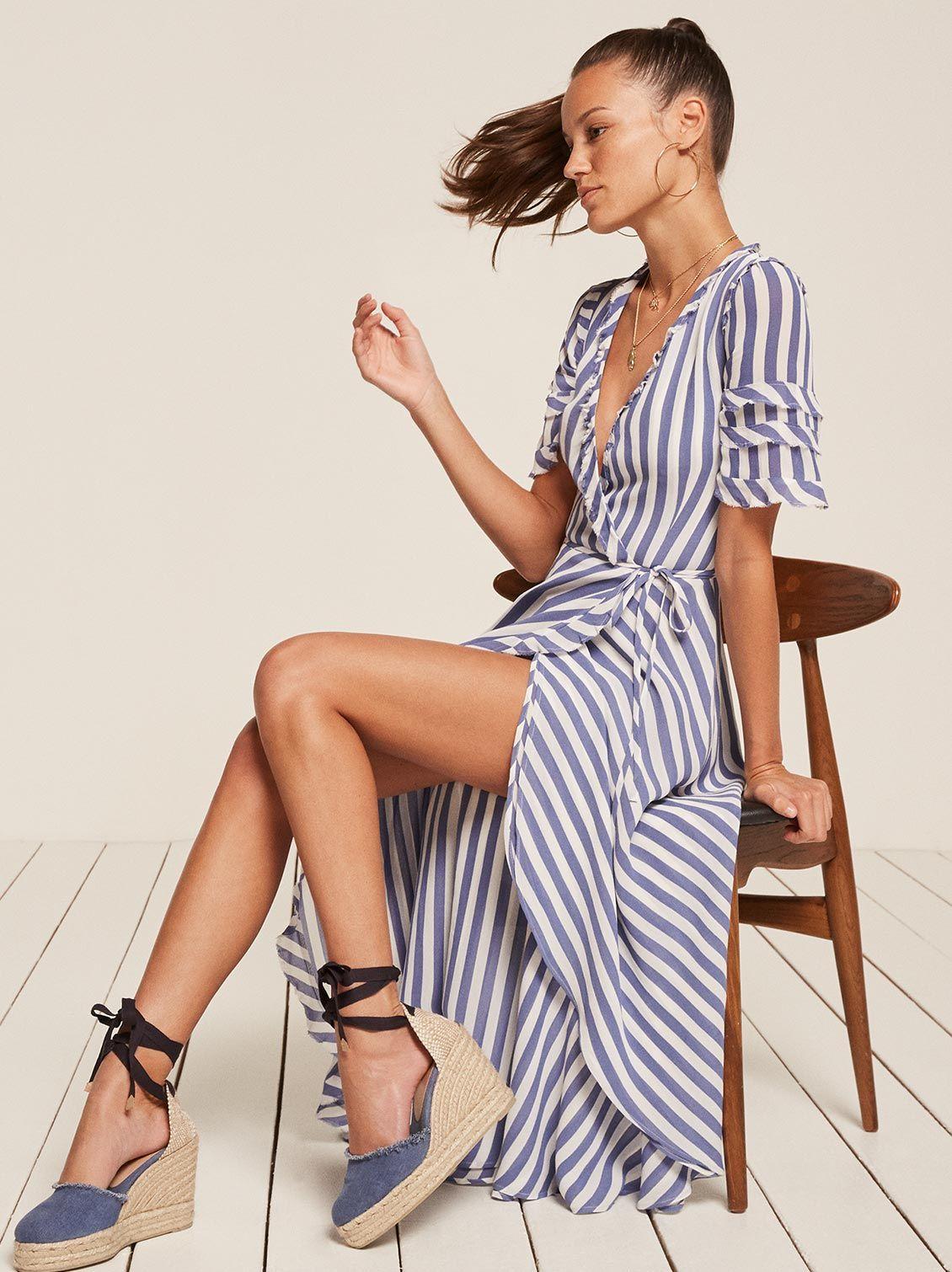 14886e7a3da Lottie blue stripe wrap maxi dress Reformation