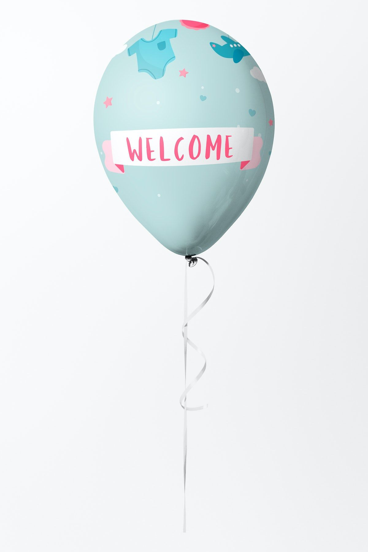 Download Premium Illustration Of Cute Pastel Blue Welcome Balloon Mockup Balloons Pink Wallpaper Iphone Design Mockup Free