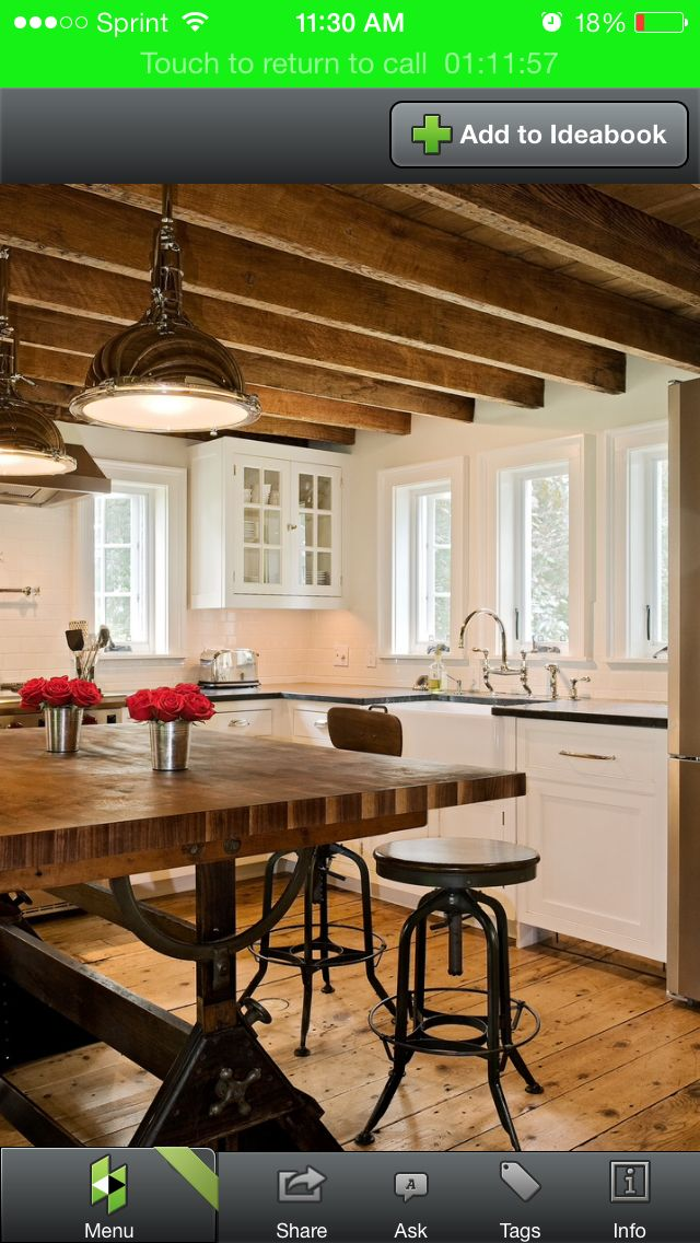 Kitchen Wood Beams White Cabinets A Home Plan