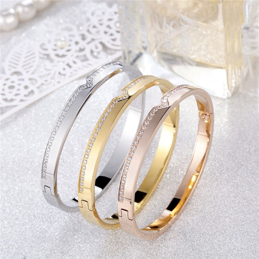 Top quality women bangles bracelets stainlless steel polished with