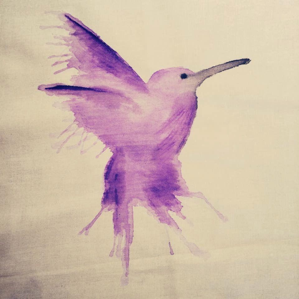 Hummingbird Painted With Fabric Paint On White Cotton Kolibri Mit Textilfarbe Auf Baumwollstoff