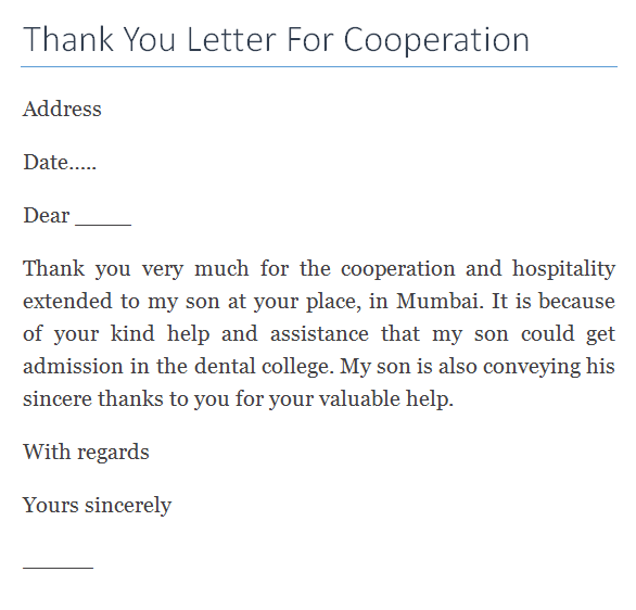 Thank You Letter For Cooperation Writing Professional Letters Alfa