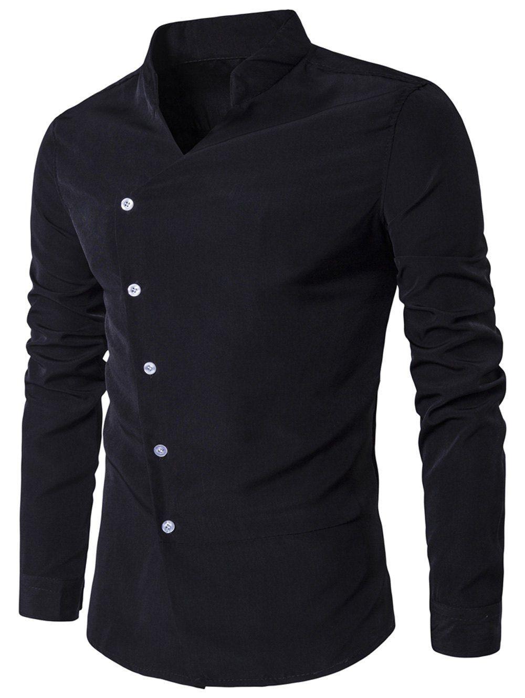 918725627 Stand Collar Oblique Placket Long Sleeve Shirt In Black,L | Twinkledeals.com
