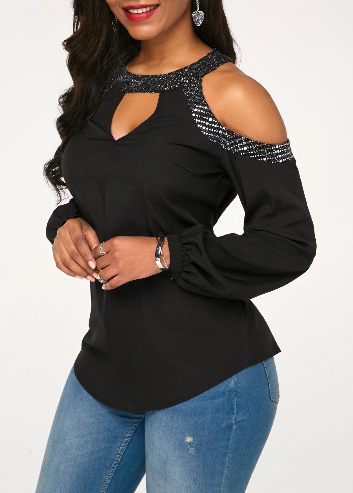 5f53e1acf3d6 Cold Shoulder Long Sleeve Black Blouse | Rotita.com - USD $26.58 ...