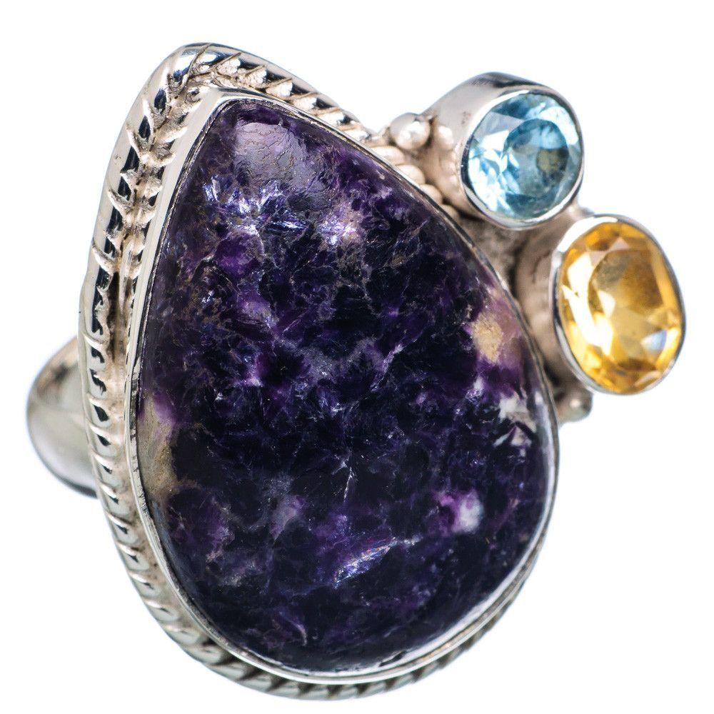Morado opal blue topaz citrine sterling silver ring size