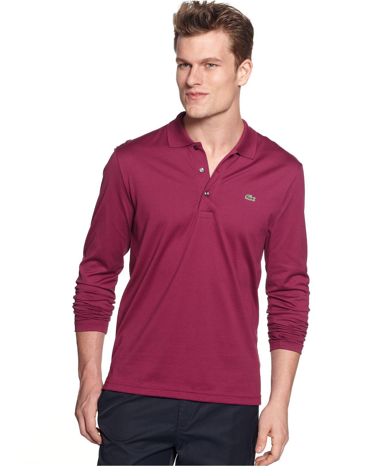 Lacoste Shirt, Long Sleeve Lightweight Polo Shirt - Mens Polos ...