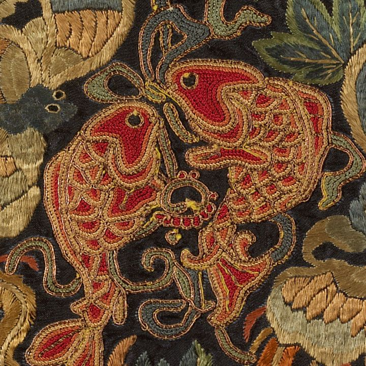 Chinese silk embroidery double fish good luck symbol for Oriental homewares