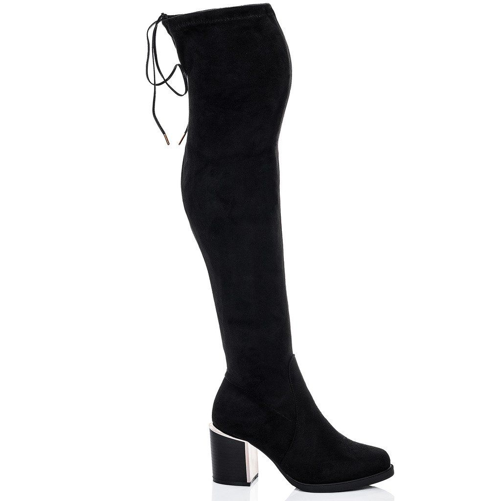 970a7233536 Lace Up Block Heel Over Knee Tall Boots Black Suede Style Sz 10     Check  this awesome product by going to the link at the image.