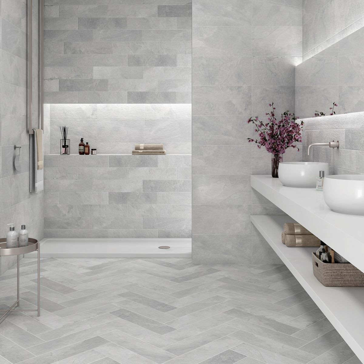 Monumental Grey 590x145mm Monumental Grey 590x145mm Grey Bathroom Tiles Tiles Uk Mosaic Bathroom Tile