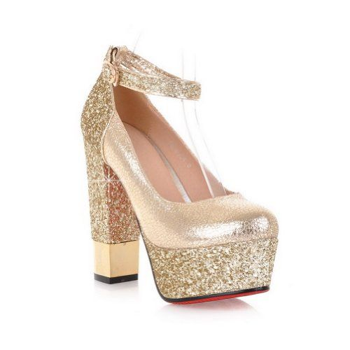 240bbe69aa6 AmoonyFashion Womens Closed Round Toe High Heel Chunky Heels PU Soft  Material Solid Pumps with Sequin