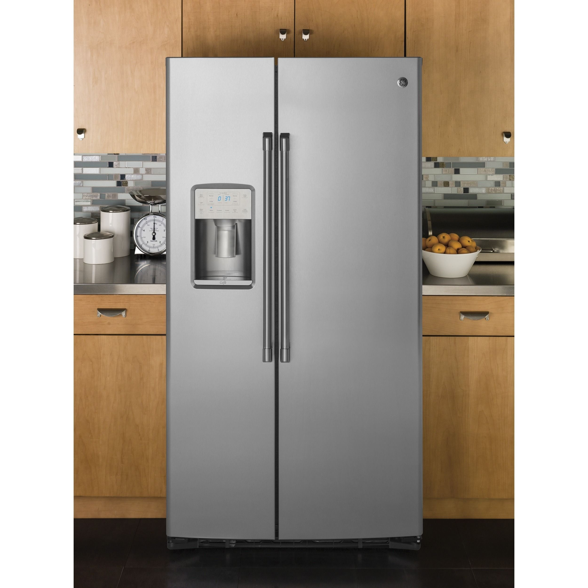 GE Cafe Series 21.9 Cubic Feet Counter Depth Side By Side Refrigerator