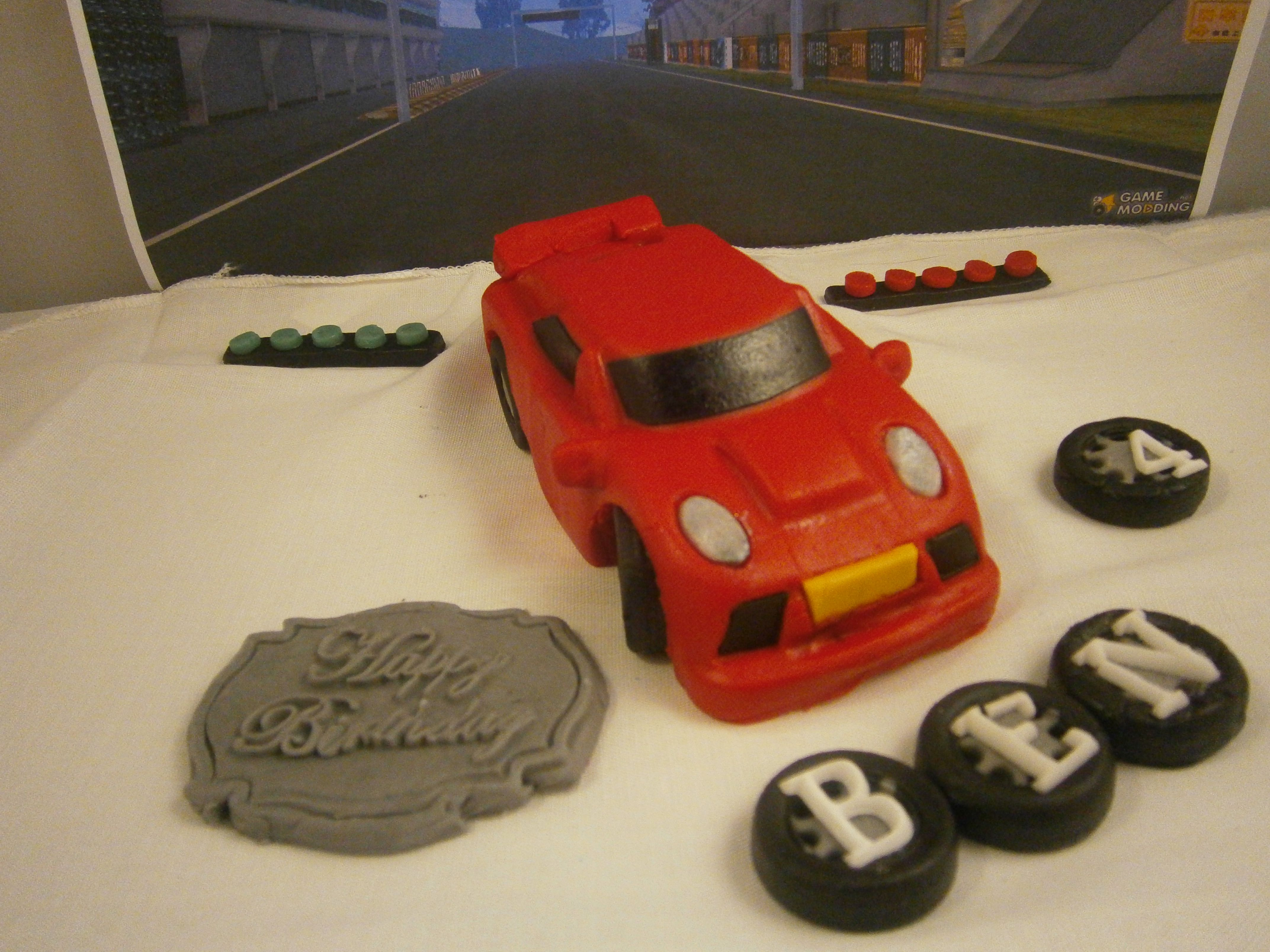 Red Car Cake Topper With Racing Lights Happy Birthday Plaque